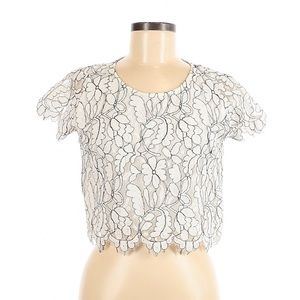 White Lace Short Sleeve Blouse